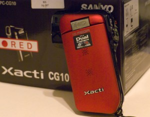 My Xacti CG10 and it's box in Radio Shack red